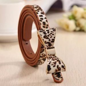 Leopard Bow PU Leather Belt